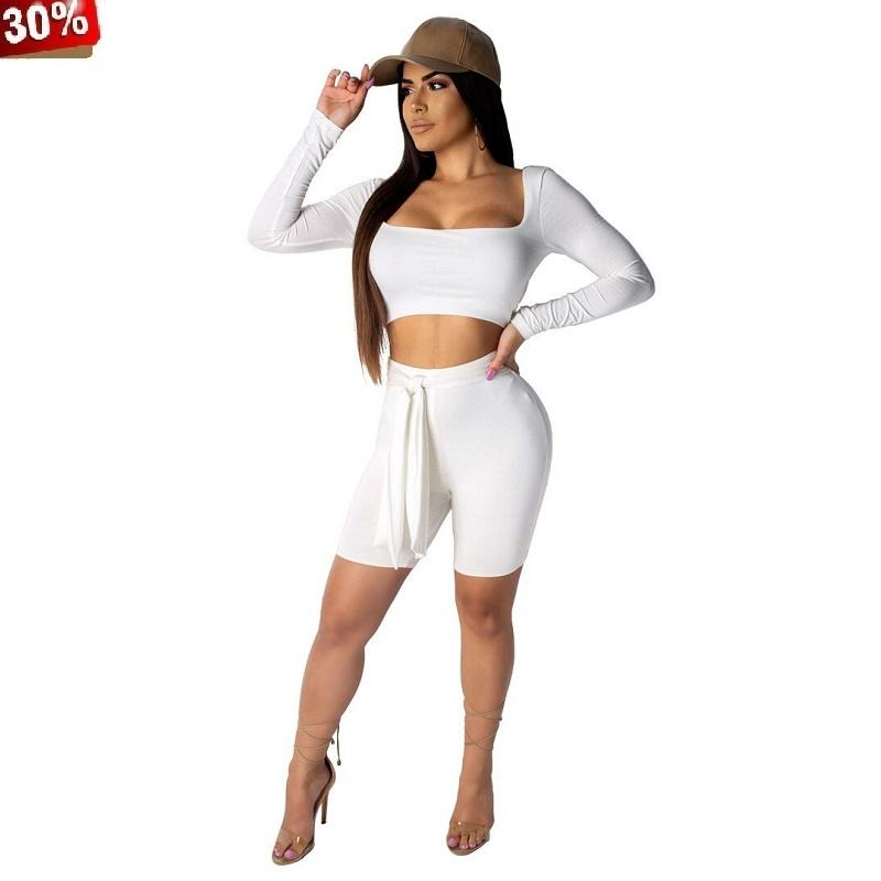 2c59735843 2019 Outfits For Women Summer Two Piece Beach Holiday Tracksuit Outfit Set  Long Sleeve Crop Top Shorts Mini 2 Pant Sets From Undervivi, $30.05 |  DHgate.Com