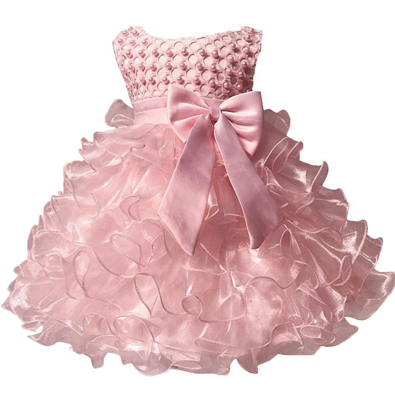Baby Kids Pearl Princess Baptism Party Tutu Dress For Girls Infant Girl's Christening Birthday Dress Toddler Carnival Vestidos Y19050801