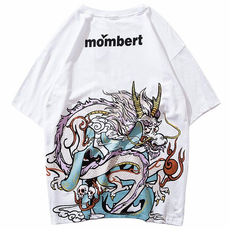 T-shirts Chinese Dragon Print T-shirts Men Streetwear Hip Hop Tshirt Mens O-neck 2019 Summer Spring Casual Tops Tees For Male