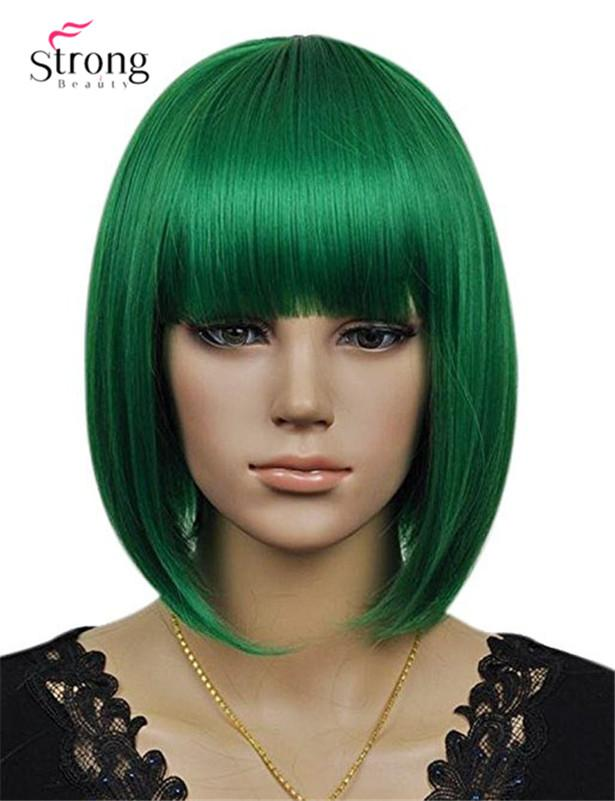 Women's Cosplay Party Synthetic Fiber Short Straight Dark Green Bob Hair Full Wigs