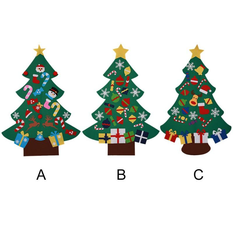 Funny Felt Christmas Tree Set With 26 Removable Ornaments Xmas Hand Craft Christmas Party Decorations