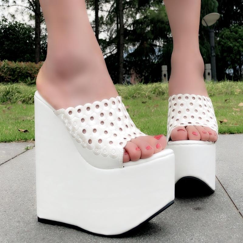 048f7173063a Summer Women Shoes High Heel 17CM Platform Slippers Fashion Casual Hollow  Out Shoes Ladies Wedges Beach Sandals Women Flip Flops Womens Cowboy Boots  ...