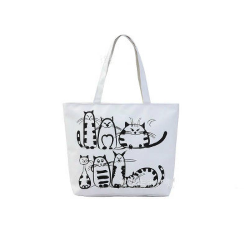 Cheap Women Canvas Handbag Cartoon Cat PrintedShoulder Bag Female Large  Capacity Ladies Beach Bag Tote Environmental Shopping Handbags Shoulder Bags  ... eef36d043f565
