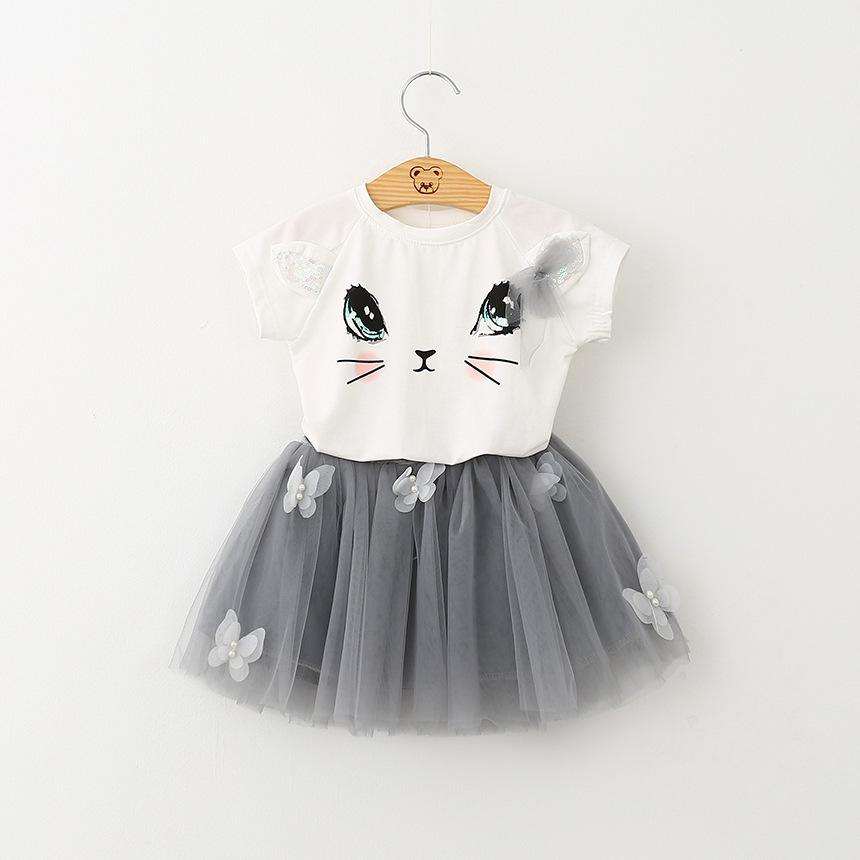 9dbdf3ba3764 2019 Girls Dress Brand Kids Clothes Girls Cute Cat Short Sleeve T ...