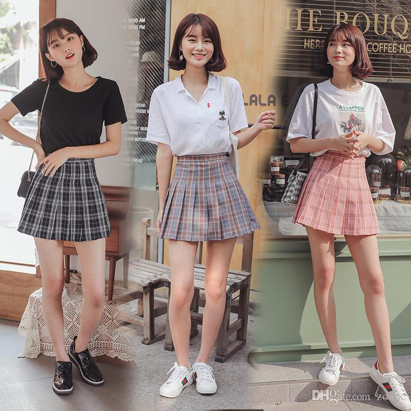 0cbcecbfde 2019 High Waist Blue Pleated Skirts Girls Harajuku Skirt Solid Plaid A Line  Mini Japan Korean Style School Uniform Women From Zoucc, $12.57 | DHgate.Com
