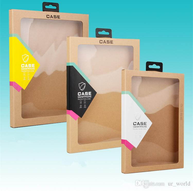 Custiom Kraft Paper Package Box With Clear Transparent Pvc Window Packing Box For ipad 9.7 Tablet Cover Case