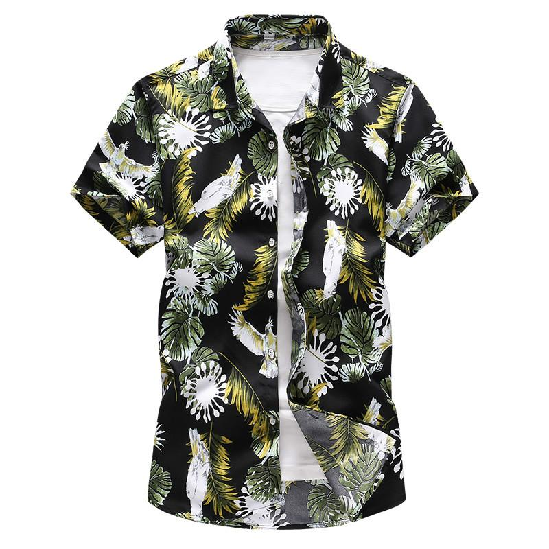 2019 Summer Fashion Men s Casual Floral Print Short Sleeve Shirt / Men s  Slim Large Size Floral Beach Vacation Holiday Shirts