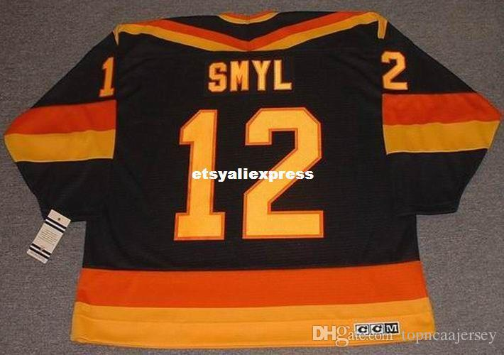 release date 21b99 a9d83 custom Mens STAN SMYL Vancouver Canucks 1985 CCM Jerseys Vintage Away Cheap  Retro Hockey Jersey