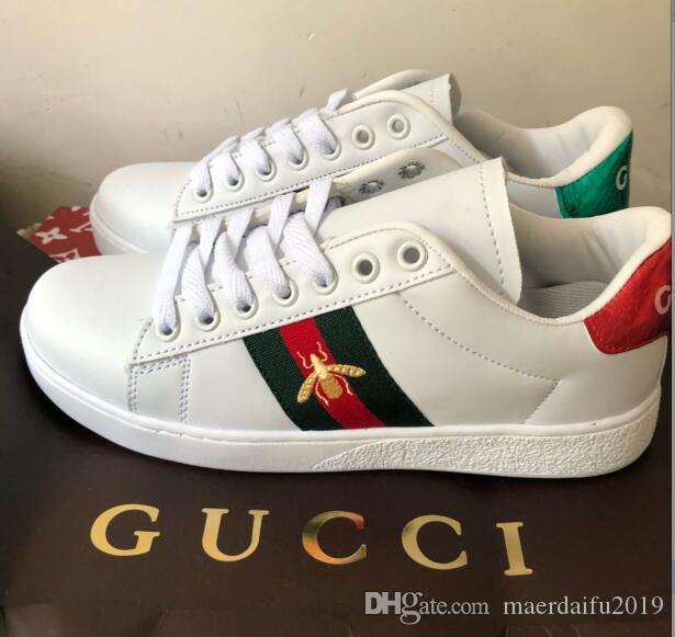 GUCCI Louis Vuitton ACE 2019 hand-embroidered fabric art plus plush thickened embroidery low-top casual shoes