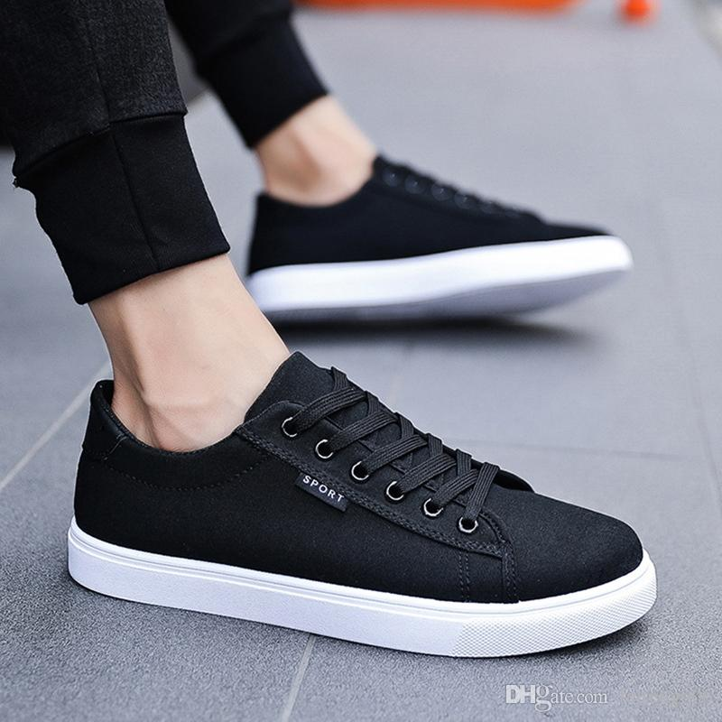 Low Top Canvas Sneakers Uomo Skateboarding Walking Shoes Bianco traspirante di alta qualità spedizione gratuita Calzature Mens Sport Shoes # 4963
