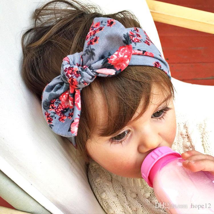 Bohême Bandeau coton fille bébé bowknot fleur Turban Twist Head Wrap Twisted Knot doux cheveux bande enfants Bandeaux Bandeaux