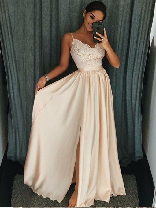 bc16a58084de A Line Spaghetti Strapls Long Prom Dresses Simple Floor Length Long Pageant  Dresses With Lace Bodice Custom Made Sleeveless Evening Gowns Ugly Prom  Dresses ...