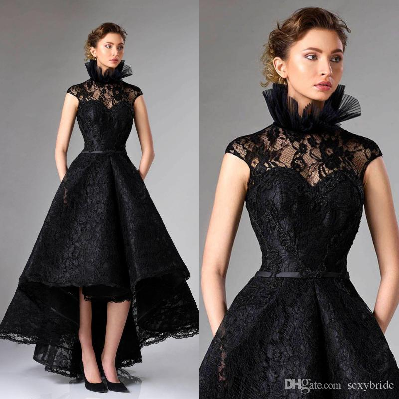 bb1980a01 Sexy Black High Low Prom Dresses 2018 Lace High Neck A Line Tea Length Evening  Gowns With Pocket Sleeveless Formal Party Dress Long Dress Online Long Lace  ...