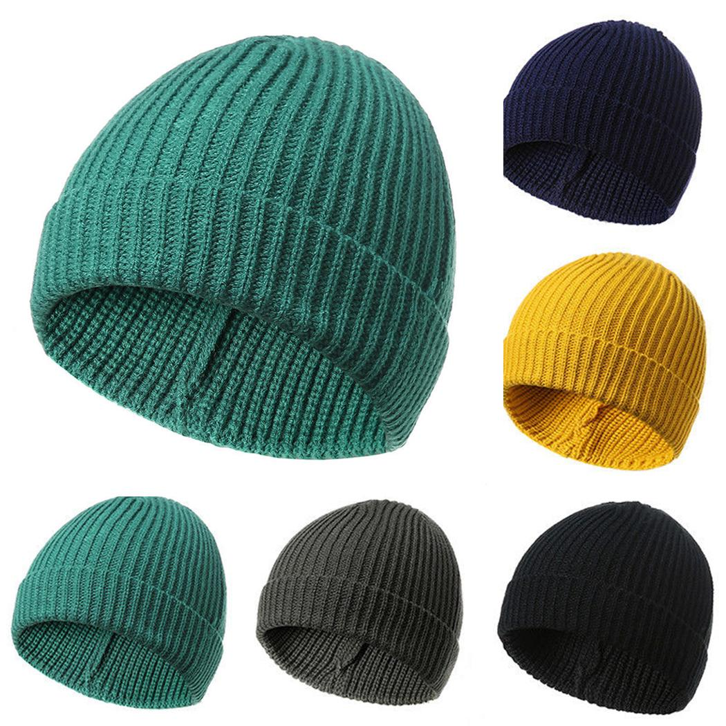 0022eb03f0f32 2019 Men Women Wool Knitted Beanie Hat Casual Crochet Hip Hop Cap Winter  Spring Unisex Solid Hats Skullies Male Female Caps Bonnet From Dinaha