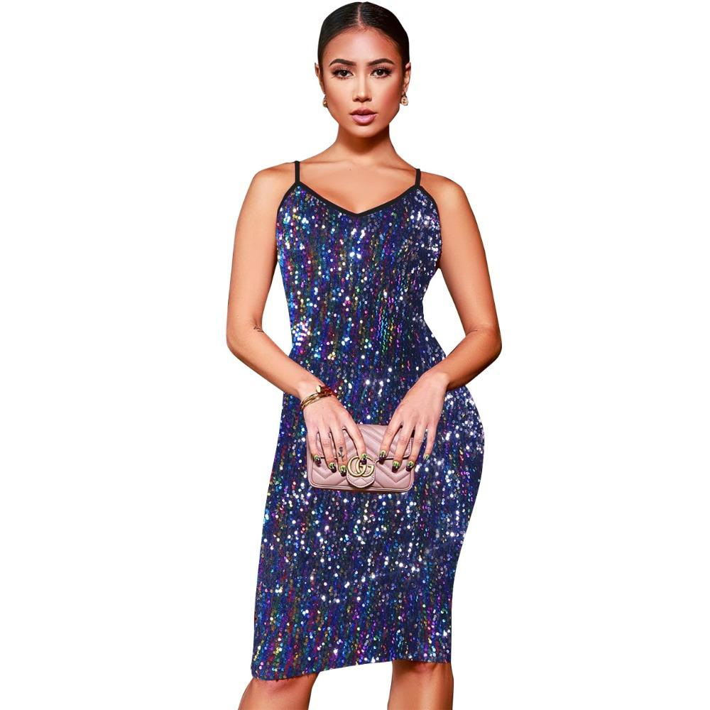 00018008e2d Elegant Sequined Women Dress Sexy Sleeveless V Neck Spaghetti Strap Bodycon  Dress Women Slim Night Club Party Dresses Vestidos Online with  38.05 Piece  on ...