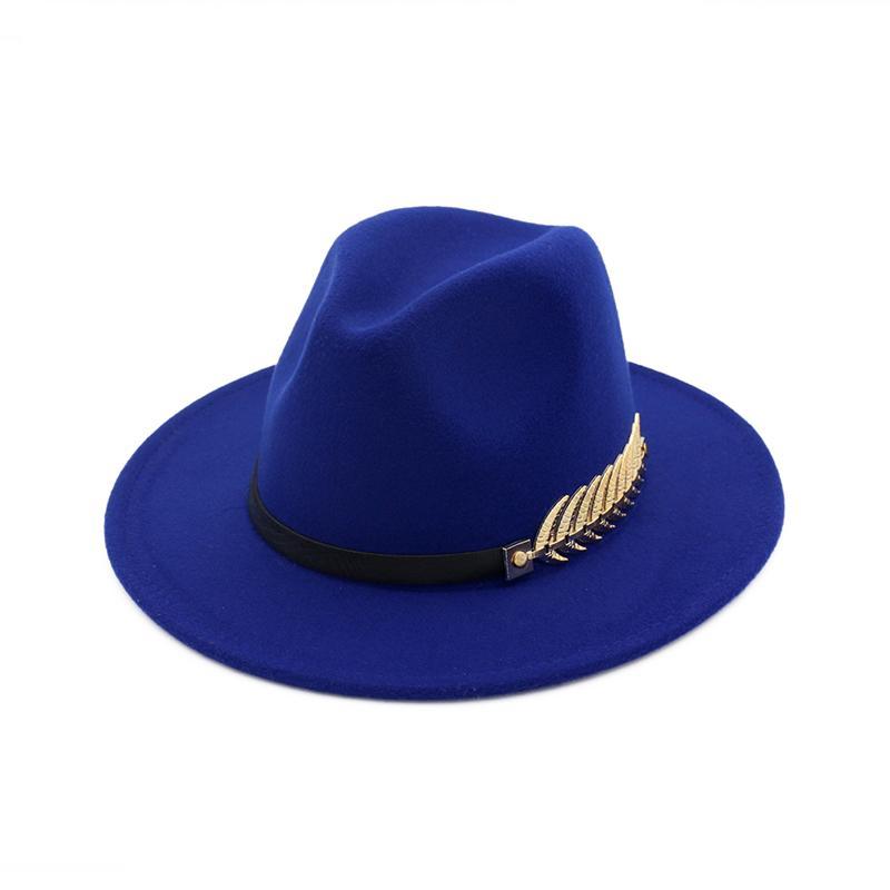 0753b6dca52e8 Compre Hoja De Fieltro Hombres Sombreros De Fedora Con Cinturón Mujer  Vintage Trilby Lana Fedora Warm Jazz Hat Chapeau Femme Feutre Sombrero  Panameño ...