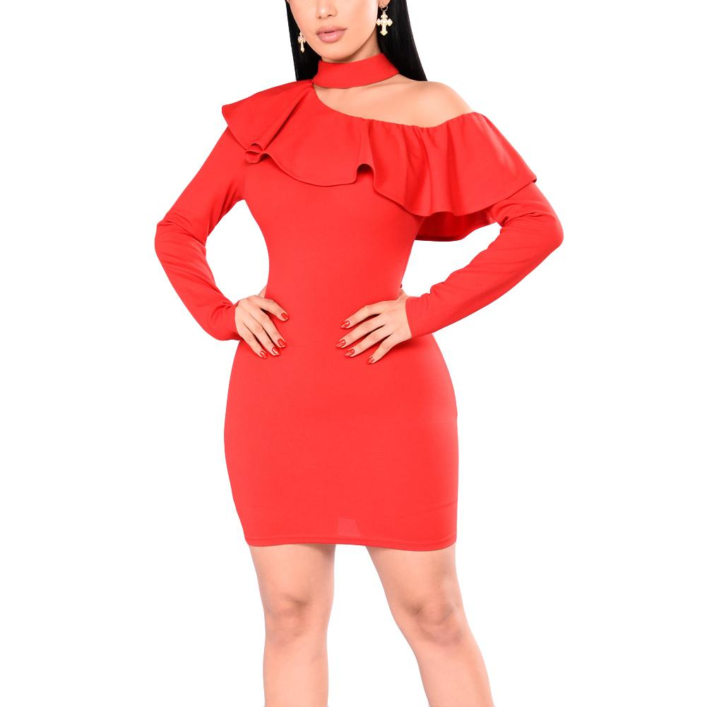 8bfb7de7f69 Sexy Women Bodycon Mini Dress Choker Neck Long Sleeves One Shoulder Ruffle  Overlay Shealth Dress Party Bandage Dress Red Vestido Cocktail Dresses Plus  Size ...
