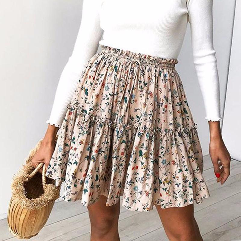 negozio online 8d7f2 37115 Gonna lunga estiva elegante da donna in cotone stampato con lacci a vita  alta Gonna corta da donna casual Beach Minigonna 2019