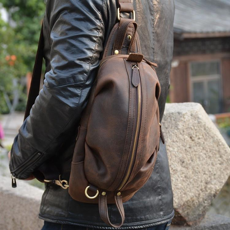 MAHEU Unique Men's Crazy Horse Leather Chest Bag Real Leather Cowhide iPad Mini Male Single Shoulder Back pack Crossbody Bags