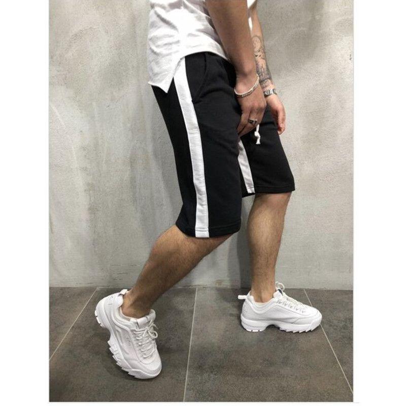 8dbbccf5e Mens GYM Sports Fitness Shorts Colors Striped Half Length Casual ...