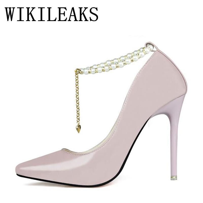 0533a8c07e68 Dress String Bead Mary Jane Shoes Woman Wedding Ladies Pumps Designer  Luxury Brand Red Extreme High Heels Pointed Toe Bridal Shoes Cute Shoes  Green Shoes ...