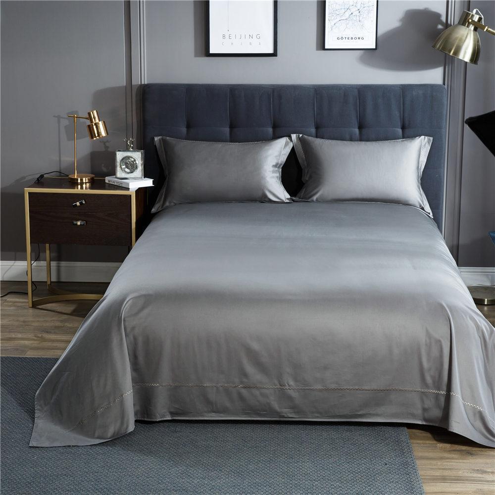 Couverture de lit moderne ensemble décoration coton égyptien solide drap de  lit taies d oreiller confortable doux adultes gris couvre-lit ensemble