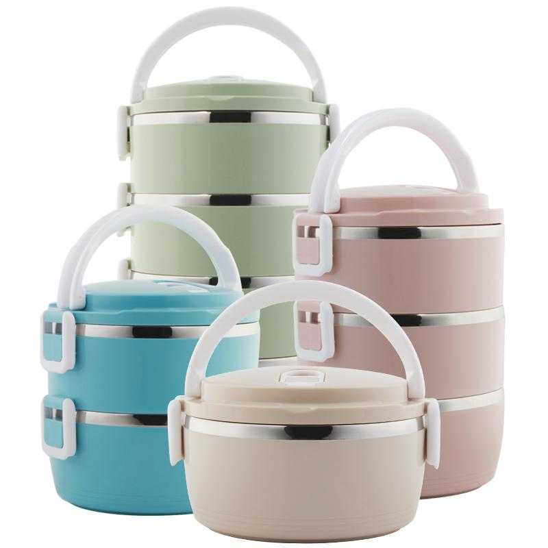 School Lunch Food Storage Container Bento Lunch Box Round Stainless Steel Thermos for Food with Containers for Kids Dropshipping C18112301