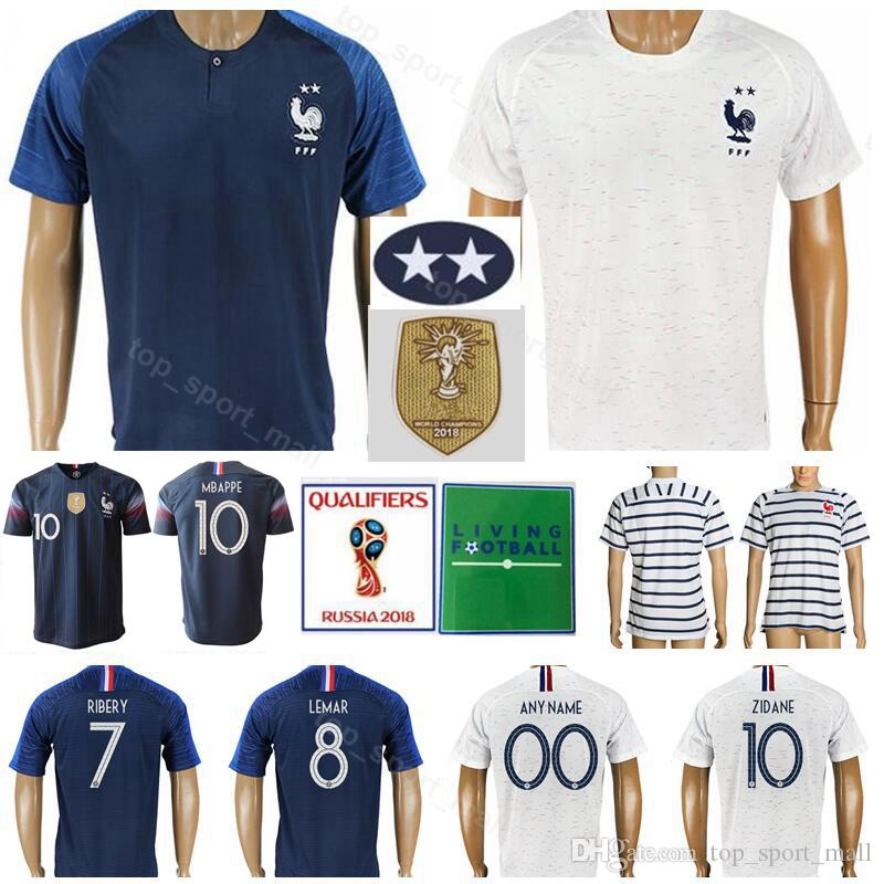 competitive price 04434 48c85 2018 World Cup Two Stars Soccer 10 ZIDANE Jerseys 12 HENRY 10 BENZEMA 7  RIBERY 8 PAYET THURAM National Team Football Shirts Kits