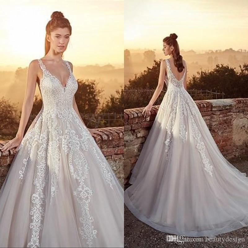 0337c4d98b76 Discount Plus Size Wedding Dresses 2019 Chic Spaghetti Straps Open Back Lace  Applique Beach Bridal Gowns Sweep Train A Line Garden Strapless A Line  Wedding ...