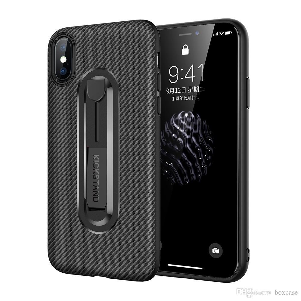 16fab1d68a2 Fundas Para Smartphone Funda De TPU De Fibra De Carbono Para Iphone 6 6s 7  8 Plus X XS Max XR Funda Incorporada En Kickstand Anti Rasguño A Prueba De  Golpes ...