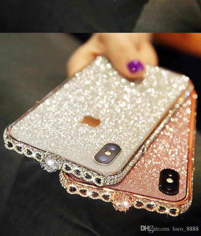 a50b7d819c For iPhone X XS 8 7 6 plus Metal Frame Case Luxury Aluminum Metal Bumper  With Glitter Sticker Film Diamond Rhinestone Shinning