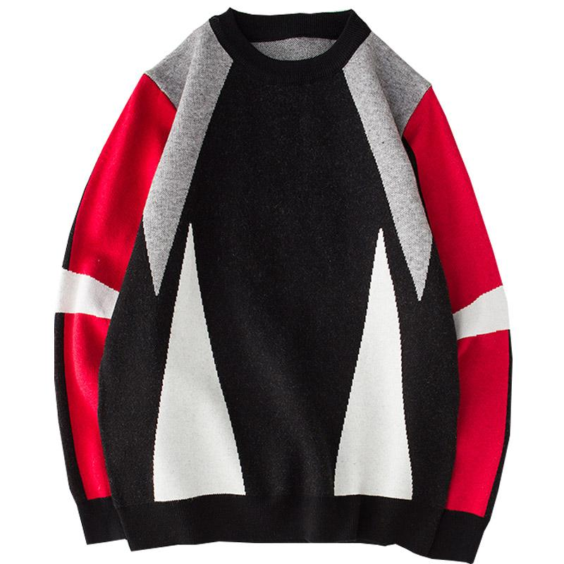 28579da11 Hip Hop Knitted Patchwork Sweater Mens Streetwear Pullover Sweater ...