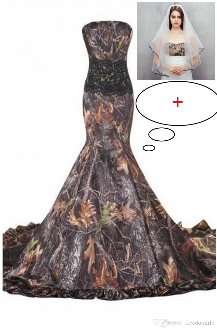 93968764d1916 2019 New Mermaid Realtree Camo Wedding Dresses Sweetheart Lace Up Appliques  Cheap Camouflage Bride Bridal Gowns Custom Made Mermaid Wedding Dresses  Cheap ...