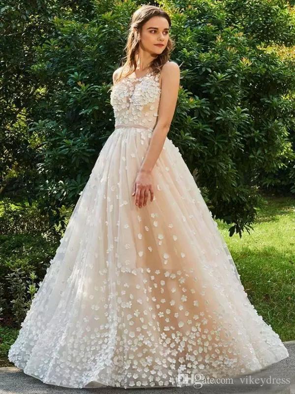 compre custom a line vestidos de novia 2019 con flores 3d apliques