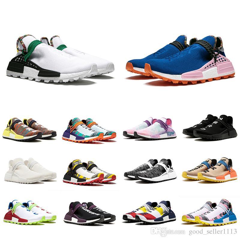 d3f742cd312d Acheter 36 47 NMD Human Race Trail Chaussures De Course Hommes Femmes  Pharrell Williams HU Runner Jaune Noir Blanc Rouge Vert Gris Bleu Sport  Sneaker De ...