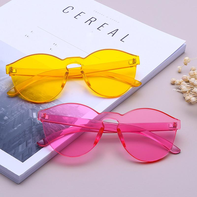 63fa740b8237 AOOFFIV Colorful Glasses One Piece Transparent Candy Color Tinted ...
