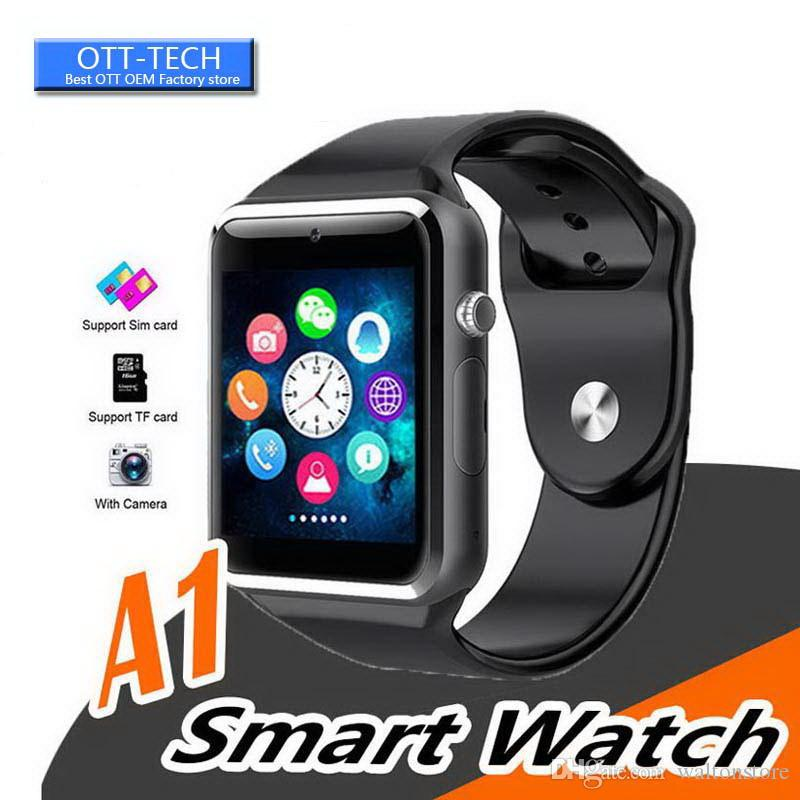 A1 Smart Watch Bluetooth Watches Low Price Wearable Men Women Smart Wristband Mobile with Camera for Android ios phone 8 Colors