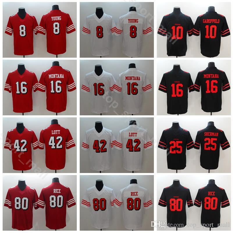 2019 San Francisco 49ers 8 Steve Young Jersey Men Football 16 Joe Montana  42 Ronnie Lott 80 Jerry Rice Vapor Untouchable Red White Black From  Vip sport ccccdb1b3