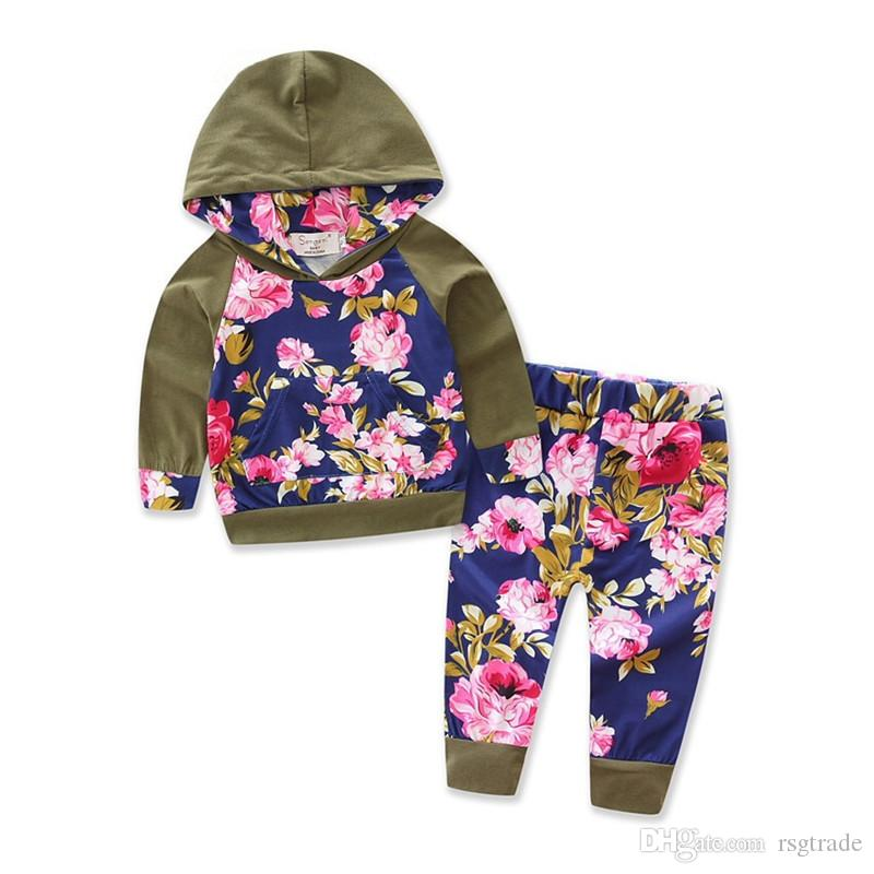 Autumn INS New Designs Infant Baby Girls Floral Hoodies Suits Flower Patchwork Hooded Tops With Elastic Pants 2pieces Kids Clothing Set