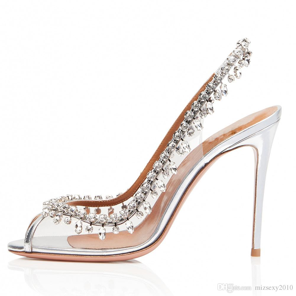 778b789f095e 2019 New Fashion Sandals Peep Toes Rhinestone Stiletto Heel Chic Sandals  Slip on Pvc High Heels Party Women Transparent Wedding Shoes Fashion  Sandals ...