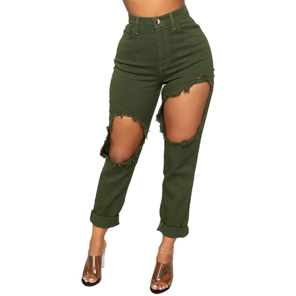 89a53f2a23263 Acheter Taille Haute Jeans Stretch Femmes Sexy Pantalon Crayon Avec Trou  Déchiré Lâche Jean Fermeture Éclair Grande Taille Rouge Jeans Femme De  $45.03 Du ...