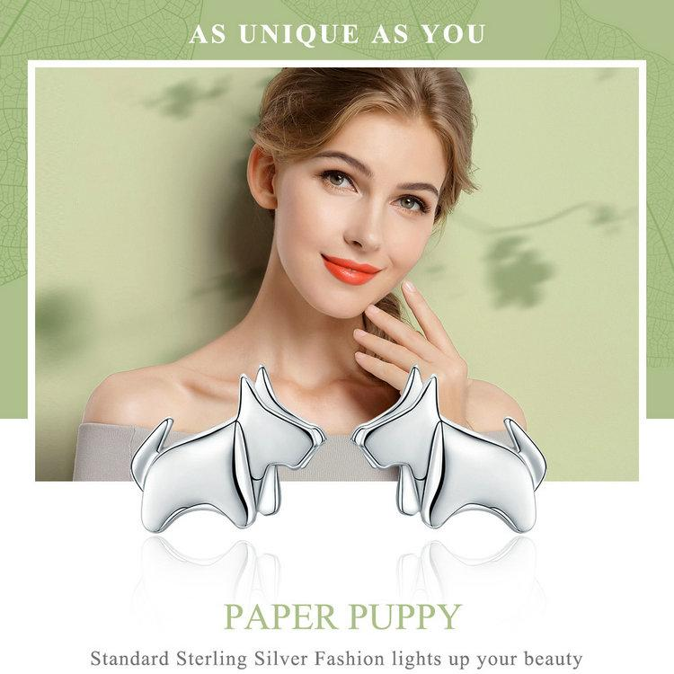 BAMOER Hot Sale 925 Sterling Silver Statement Paper Puppy Dog Small Stud Earrings for Women Sterling Silver Jewelry Gift SCE340