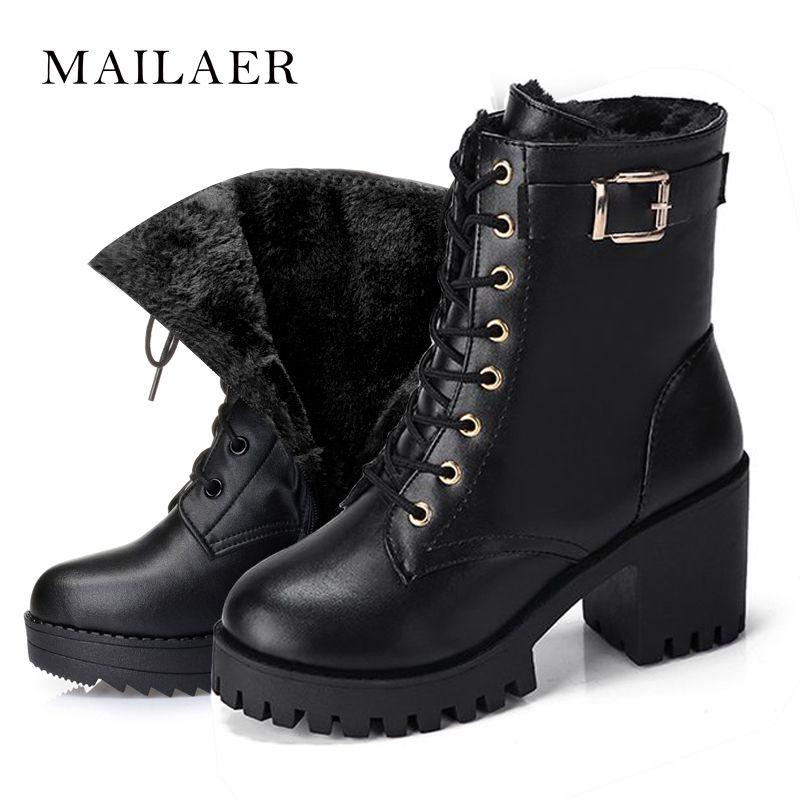 2019 2018 women boots fashion ladies winter plush warm womens winter waterproof lace up platform snow Mid Calf boots
