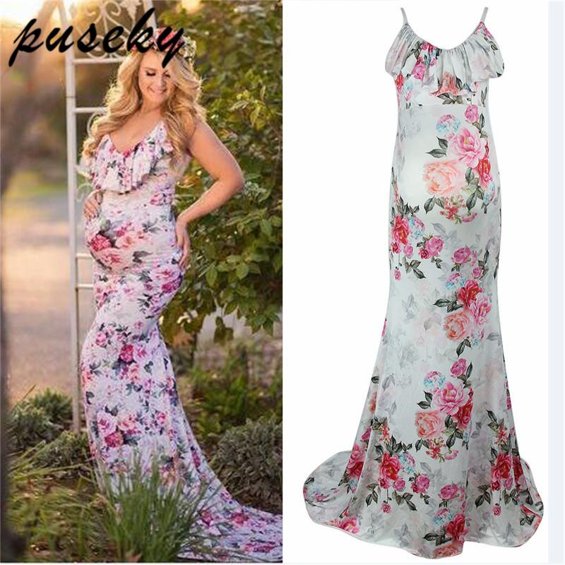 6da709d2460 2019 Puseky Maternity Dress Ruffle Collar Sleeveless Fashion Floral Falbala  Pregnant Dress Long Maternity Cloth For Photography Props From Friendhi