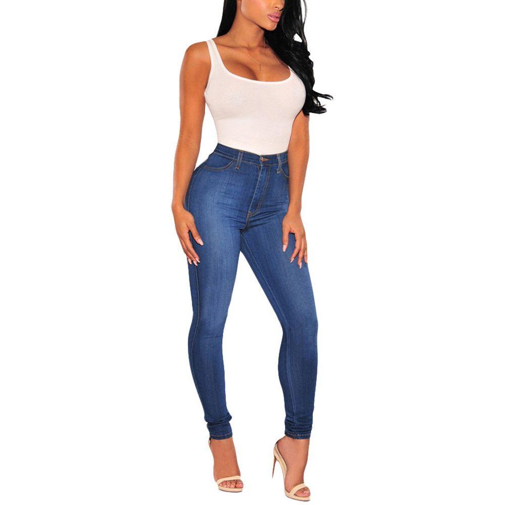 c75db19c75b76 Ladies High Waist Jeans Stretch Hose Jeans Leggings Skinny Slim ...