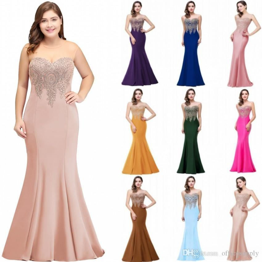 Plus Size Mermaid Prom Dress Gold Appliques Long Formal Women Evening Party Gowns Robe De Soiree Longue