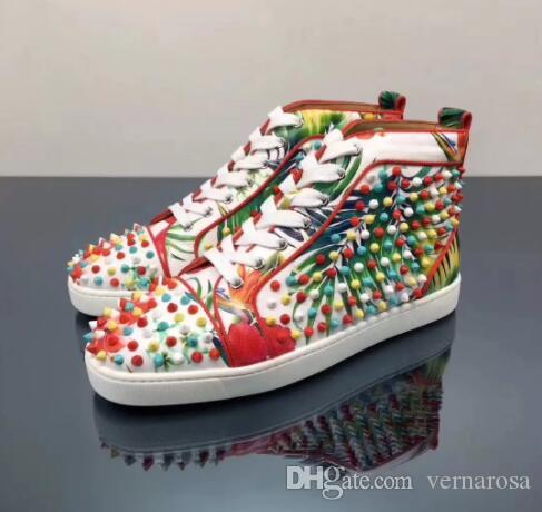 f7dd91d9812da6 New Fashion Style Flowers Print Leather Red Bottom Shoes Original Quality  with Revits Sneakers Dress Party Wedding Sneakers Shoes Red Bottom Sneakers  ...