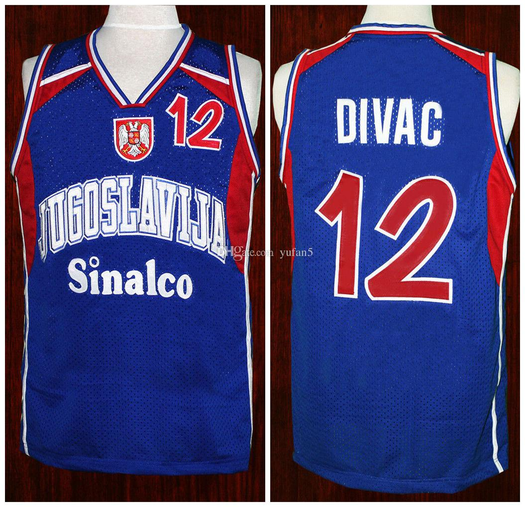 96113e246b3c 2019 Vlade Divac  12 Team Jugoslavija Yugoslavia Serbia Blue Retro  Basketball Jerseys Mens Stitched Custom Any Number Name From Yufan5