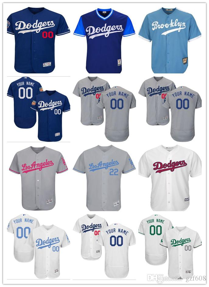 bf9e7b90122 Custom Men s Women Youth Los Angeles Dodgers Jersey  00 Any Your ...