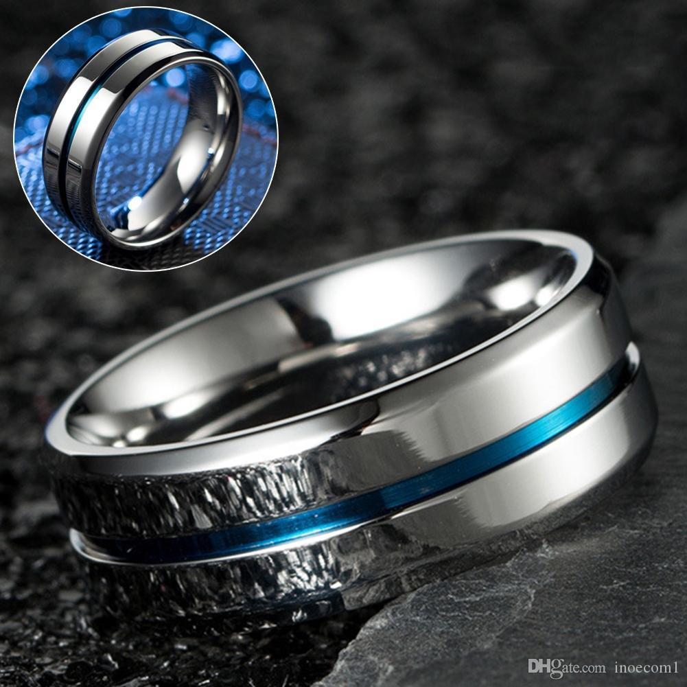 High Quality Silver Loop Thin Blue Groove Simple Style Ring For Man Stainless Steel Ring Gift Fashion Jewelry